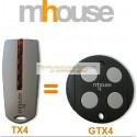 MHOUSE télécommande TX4 remplacer par la MHOUSE Télécommande GTX4